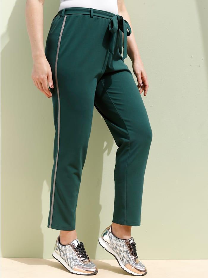 MIAMODA Pantalon avec bande fantaisie pailletée, Vert bouteille