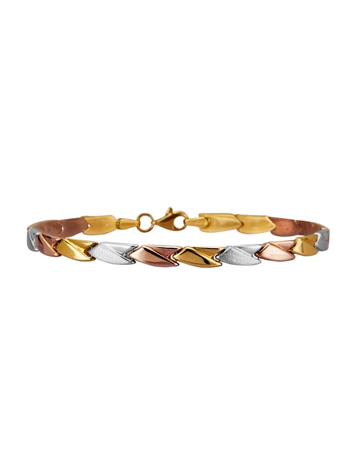 Armband van 9 kt. geel/wit/rood, Multicolor