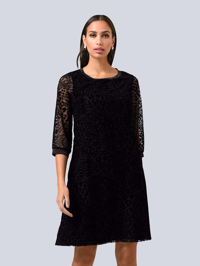 Alba Moda Šaty s módním vypalovaným zvířecím vzorem, Černá