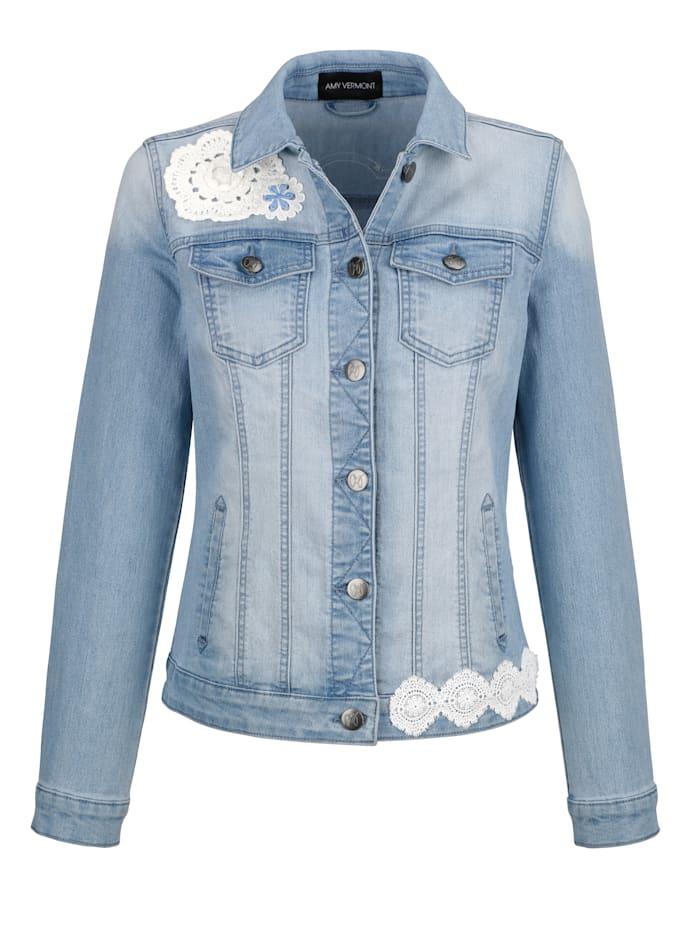 Jeansjacke mit Häkelspitze im Vorder- und Rückteil