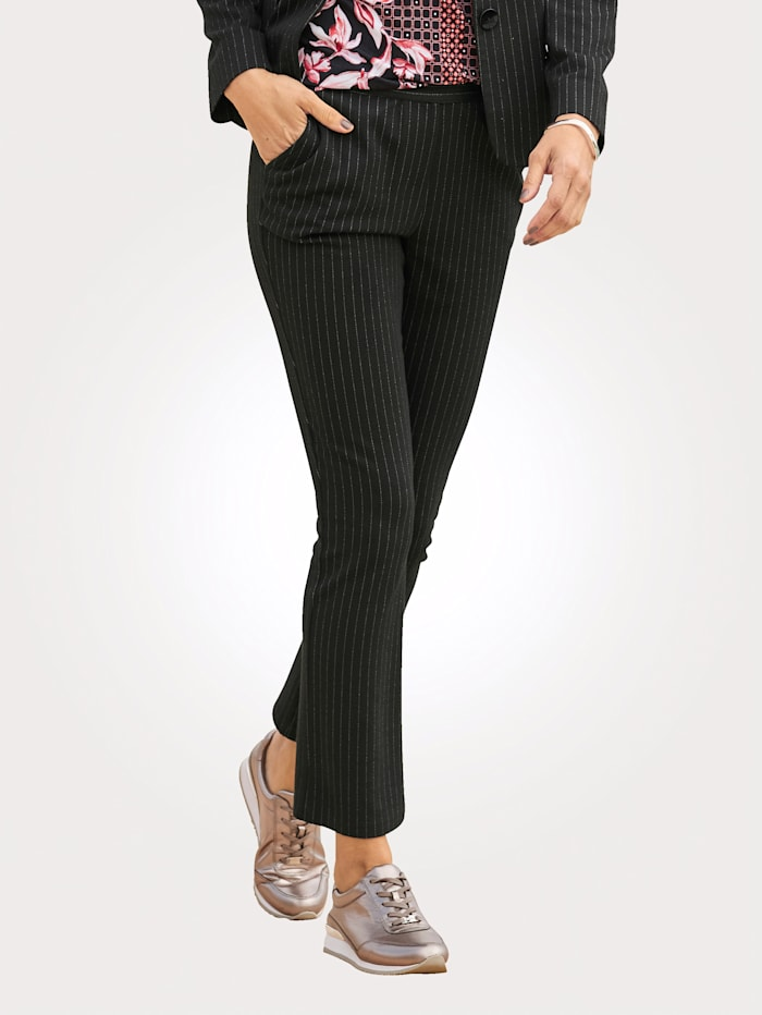 MONA Jerseyhose mit Längs- Nadelstreifen, Schwarz/Weiß