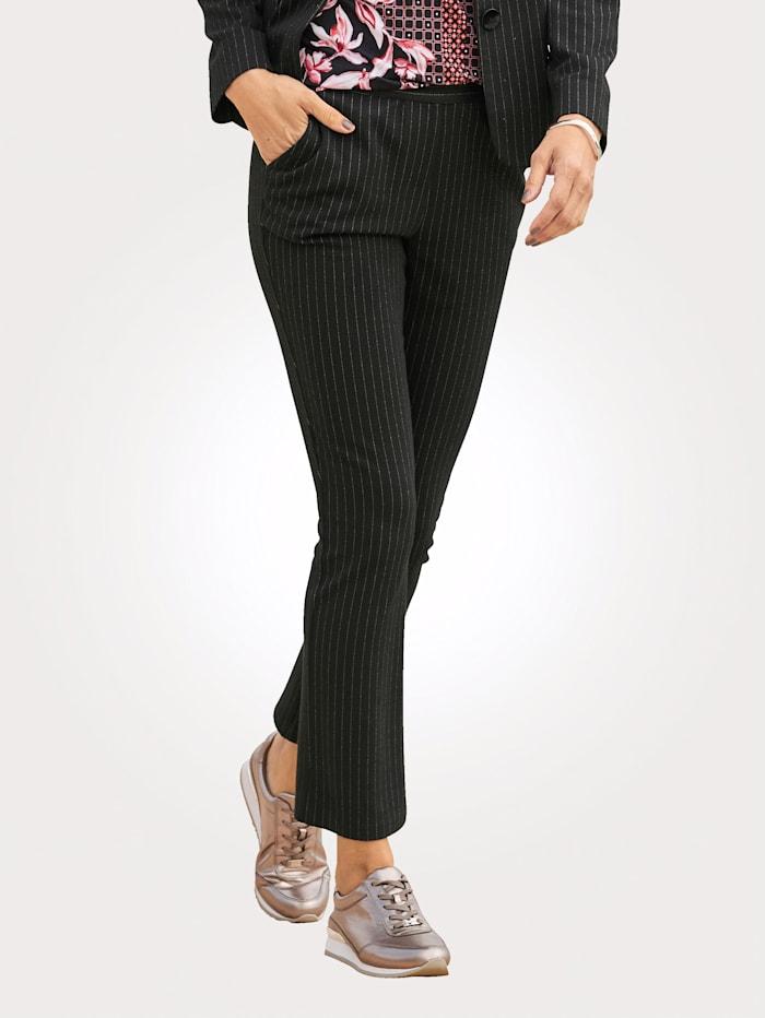 MONA Pantalon en jersey à fines rayures verticales, Noir/Blanc