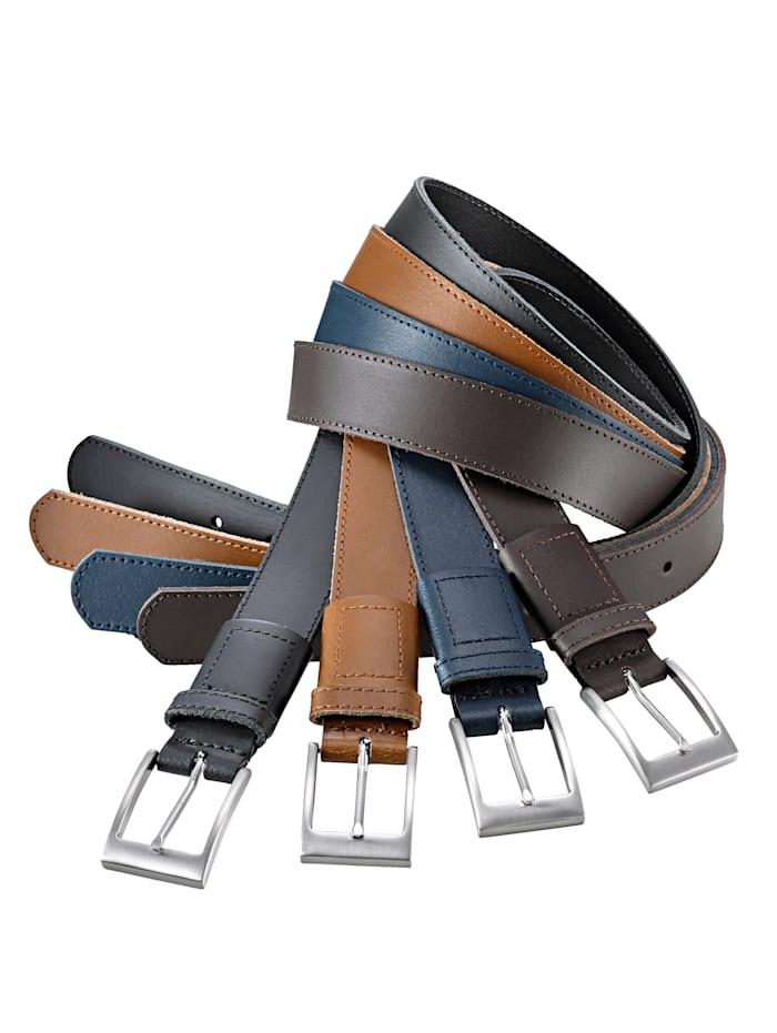 Roger Kent Kožený pásek s neviditelnou pružnou rezervou, hnědá