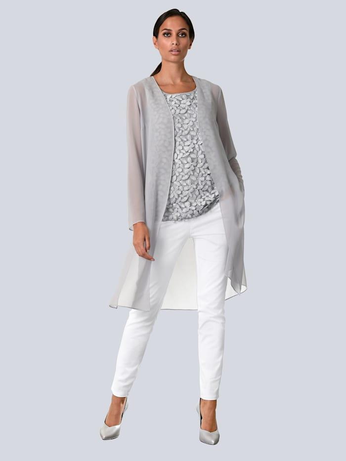 Alba Moda Bluse in offener Form, Grau