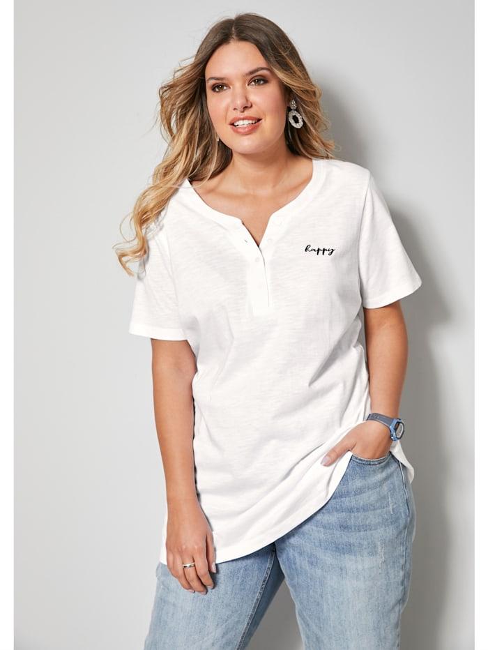 Janet & Joyce Shirt mit kleiner Schriftzug-Stickerei, Weiß