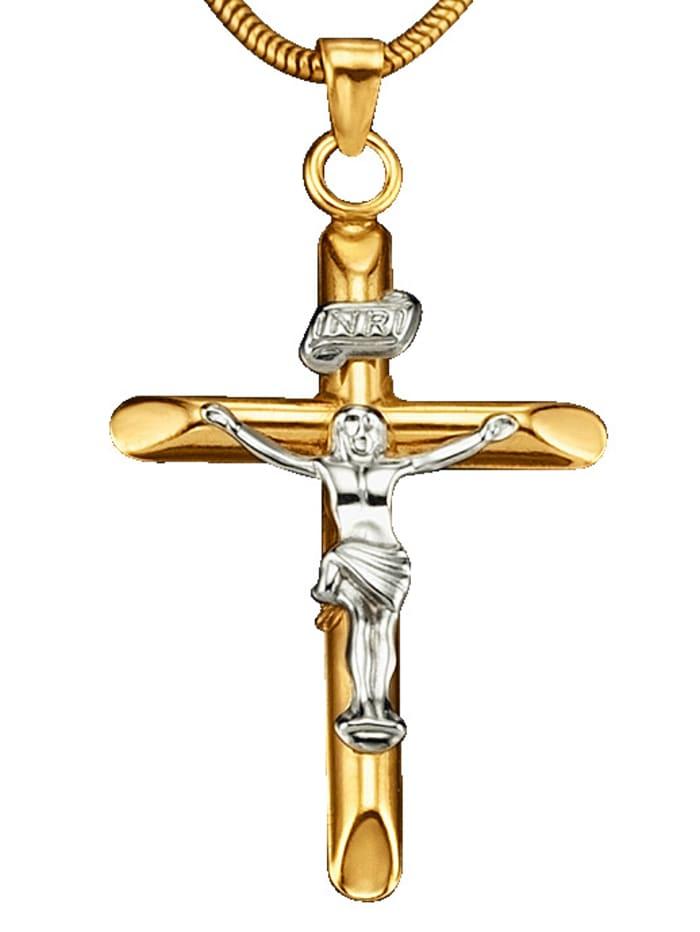 KLiNGEL Kreuz-Anhänger in Gelbgold 585, Gelbgoldfarben