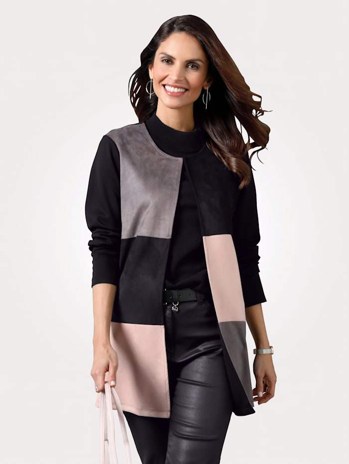 MONA Jacket crafted from soft faux suede, Rosé/Grey/Black