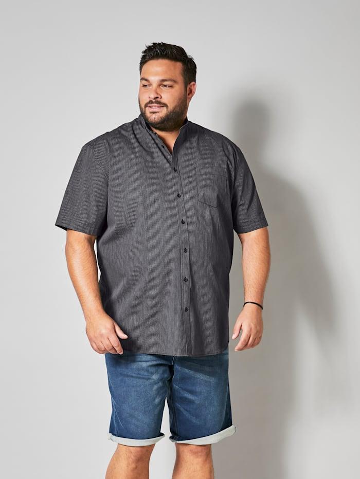 Men Plus Kurzarmhemd gestreift, Schwarz/Weiß