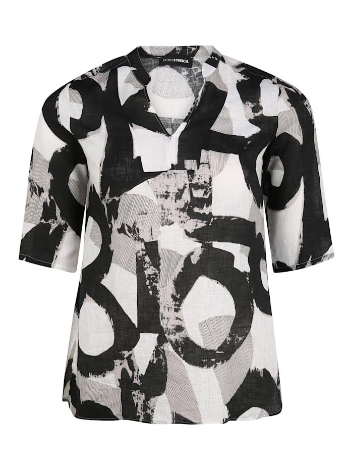 Doris Streich Bluse mit V-Ausschnitt, schwarz/weiß