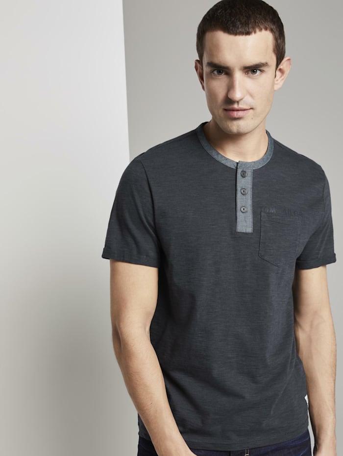 Tom Tailor Gestreiftes Henley-T-Shirt mit Brusttasche, anthra navy fine stripe