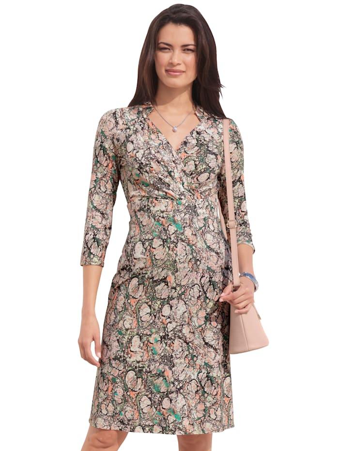 AMY VERMONT Kleid mit grafischem Muster, Beige/Grün/Rosé