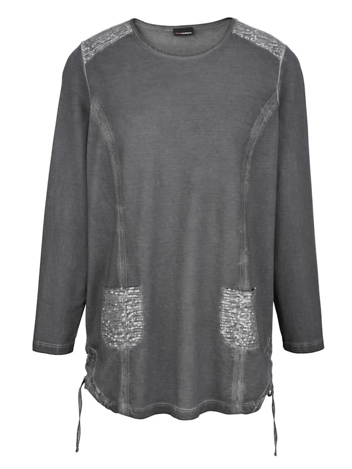 Sweatshirt mit Pailletten an Schultern und Taschen