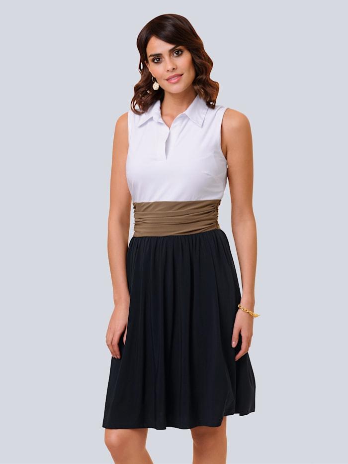 Alba Moda Kleid in Colourblocking-Optik, Marineblau/Taupe/Weiß