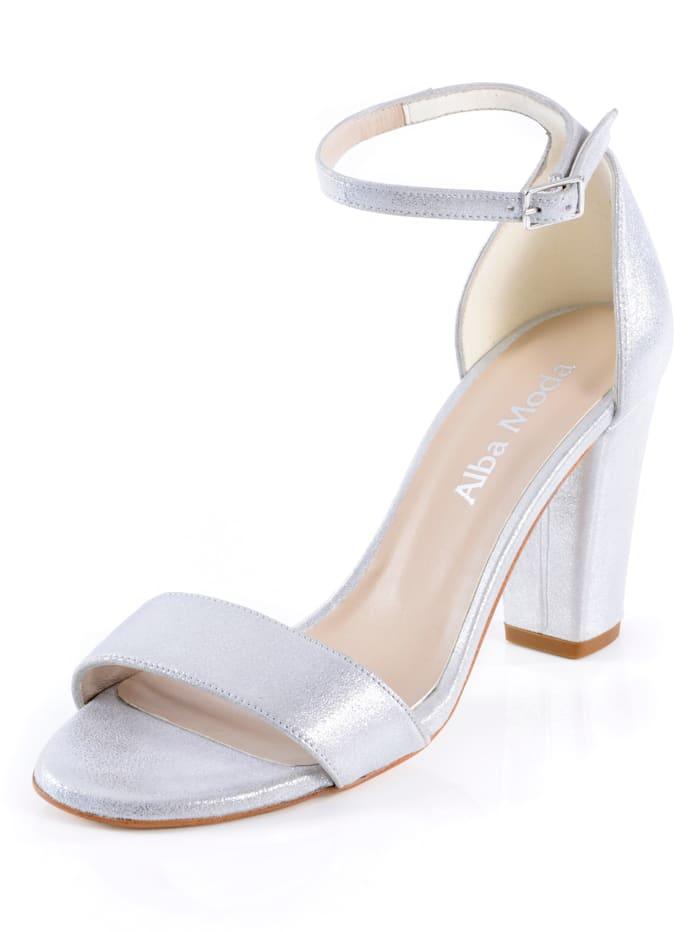 Alba Moda Sandaaltje van hoogwaardig geitenleer, Zilverkleur