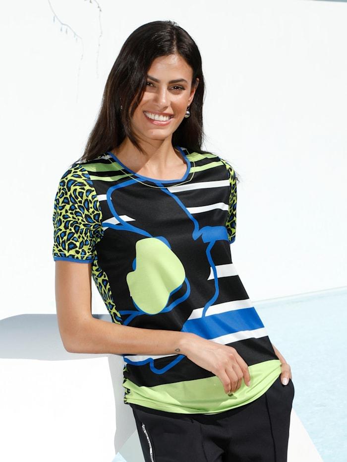 AMY VERMONT Shirt mit Mustermix, Schwarz/Grün/Blau