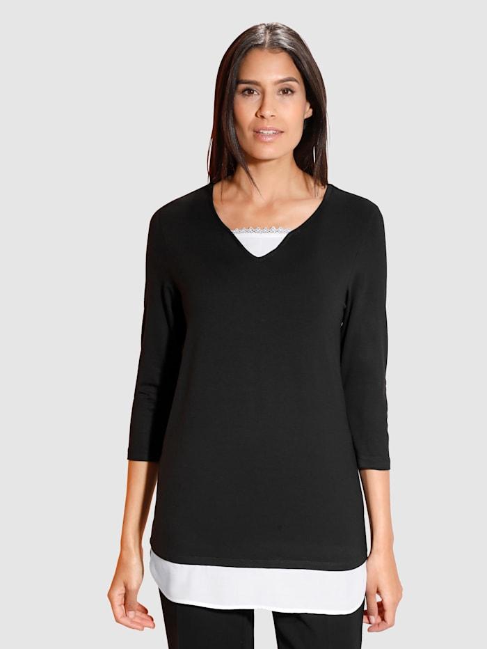 Dress In Tričko 2-v-1 s tkanou vsadkou, Čierna