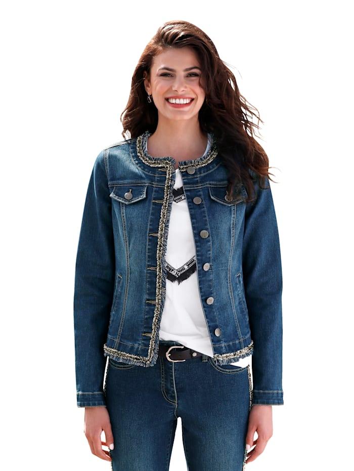 AMY VERMONT Jeansjakke med pyntebånd, Blå