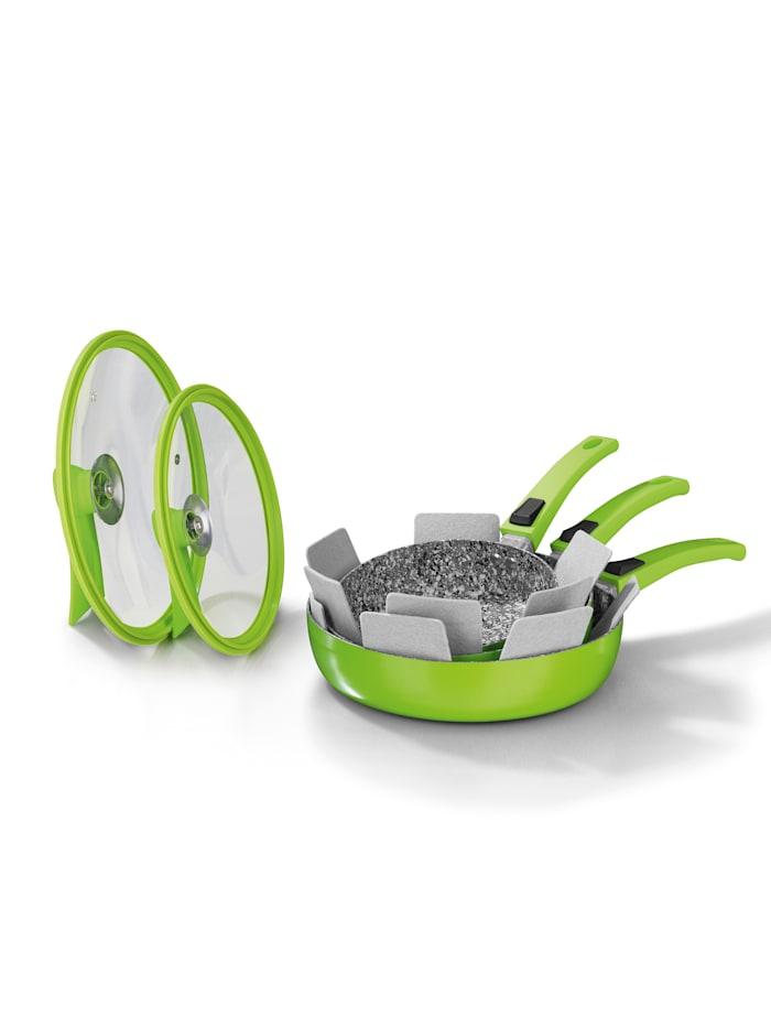 7tlg. Aluminium-Hochrandpfannen Set mit Glasdeckel und Pfannenschonern