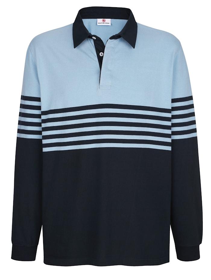 Boston Park Sweatshirt mit Kragen in Webqualität, Hellblau/Marineblau