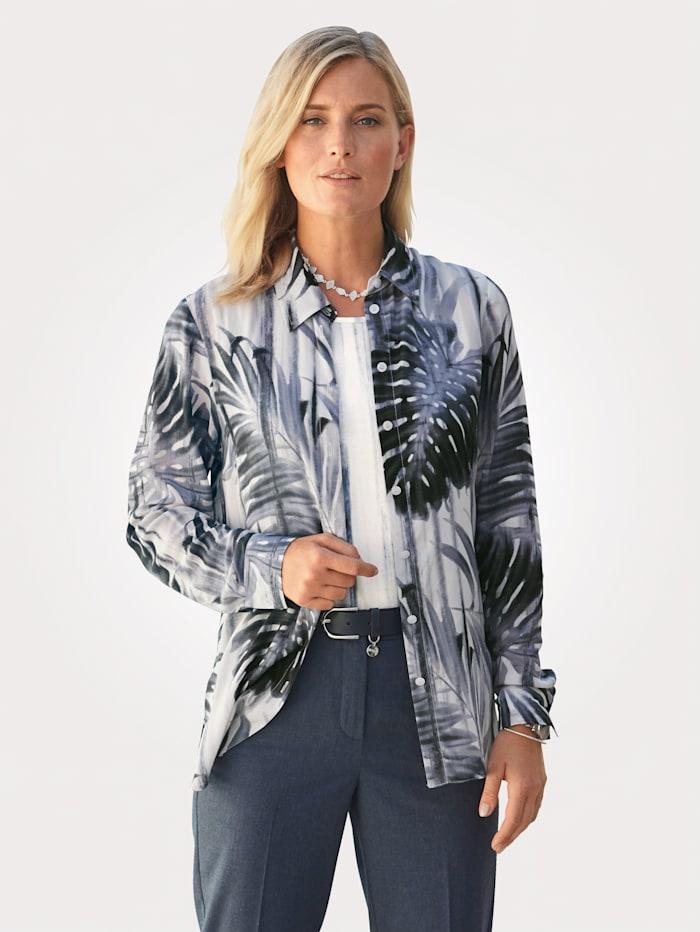 MONA Bluse mit Blätterdruck, Rauchblau/Natur