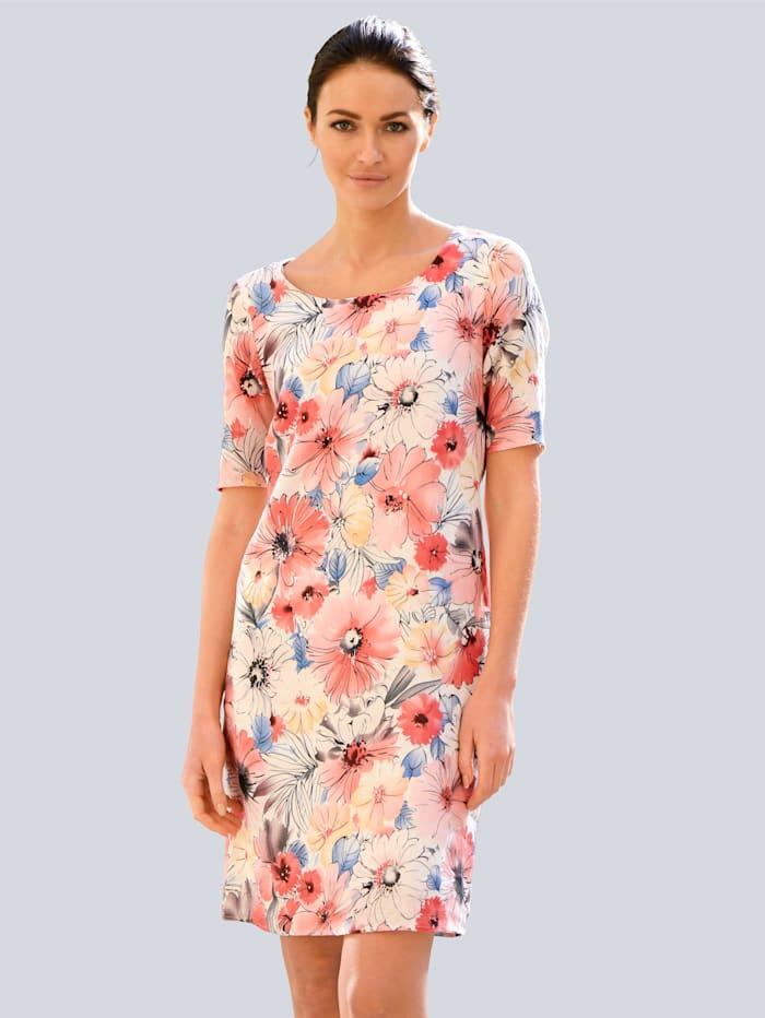 Alba Moda Kleid aus reinem Leinen, Rot/Rosé/Weiß/Blau