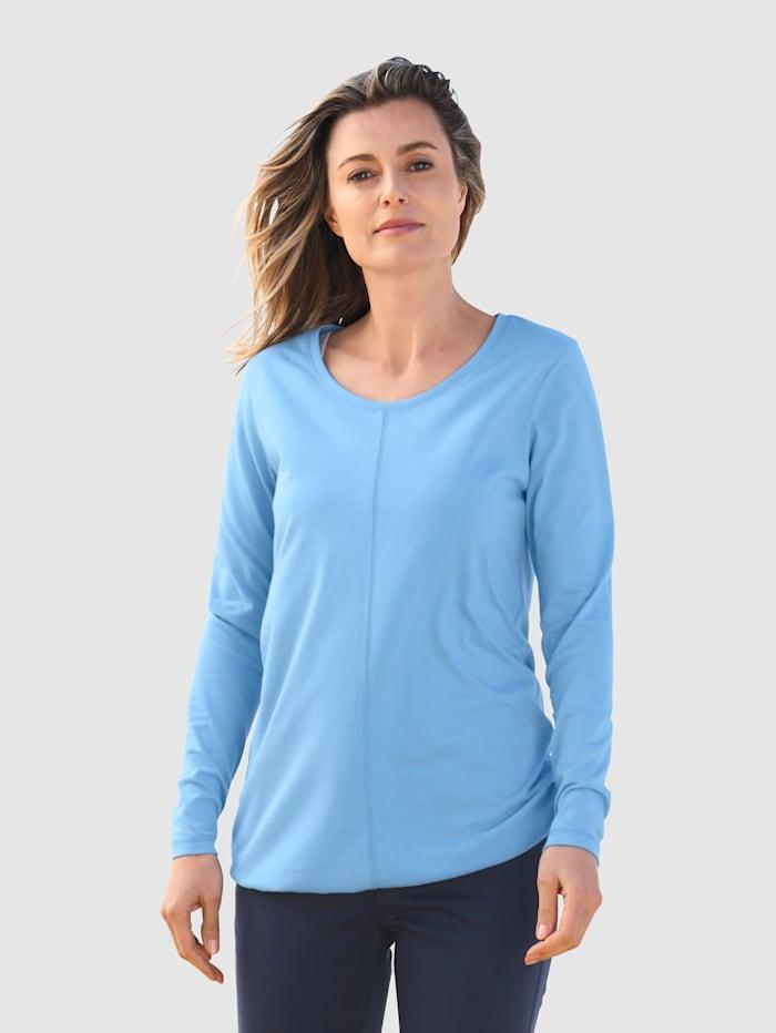 basically you Shirt mit Kordelzug am Saum, Eisblau