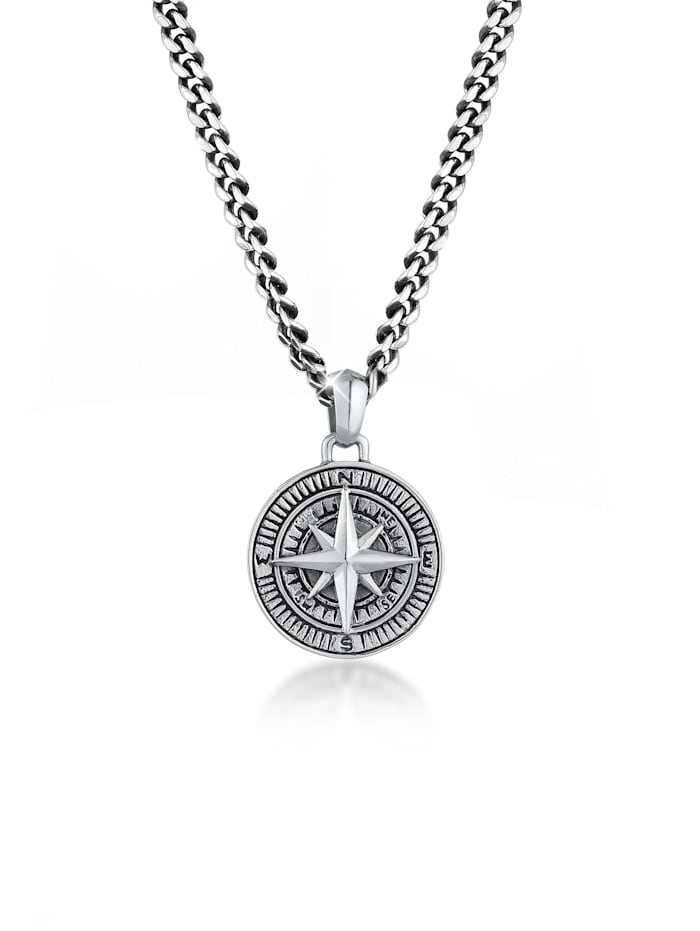 Kuzzoi Halskette Herren Panzerkette Kompass Cool Massiv 925 Silber, Schwarz