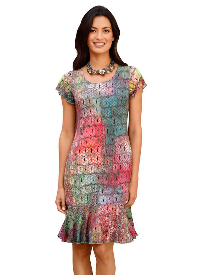 AMY VERMONT Šaty s kroko-potiskem, Růžová/Zelená/Pink