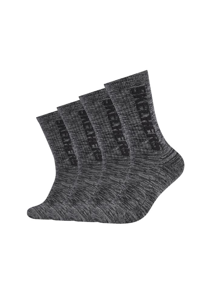 Skechers Tennis Socken im 4er-Pack mit weichem Bund, dark grey random