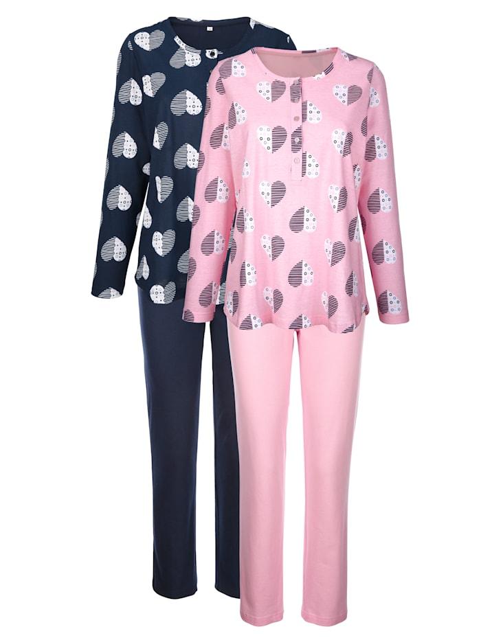 Blue Moon Pyjamas par lot de 2 en coton biologique, Marine/Rose/Écru