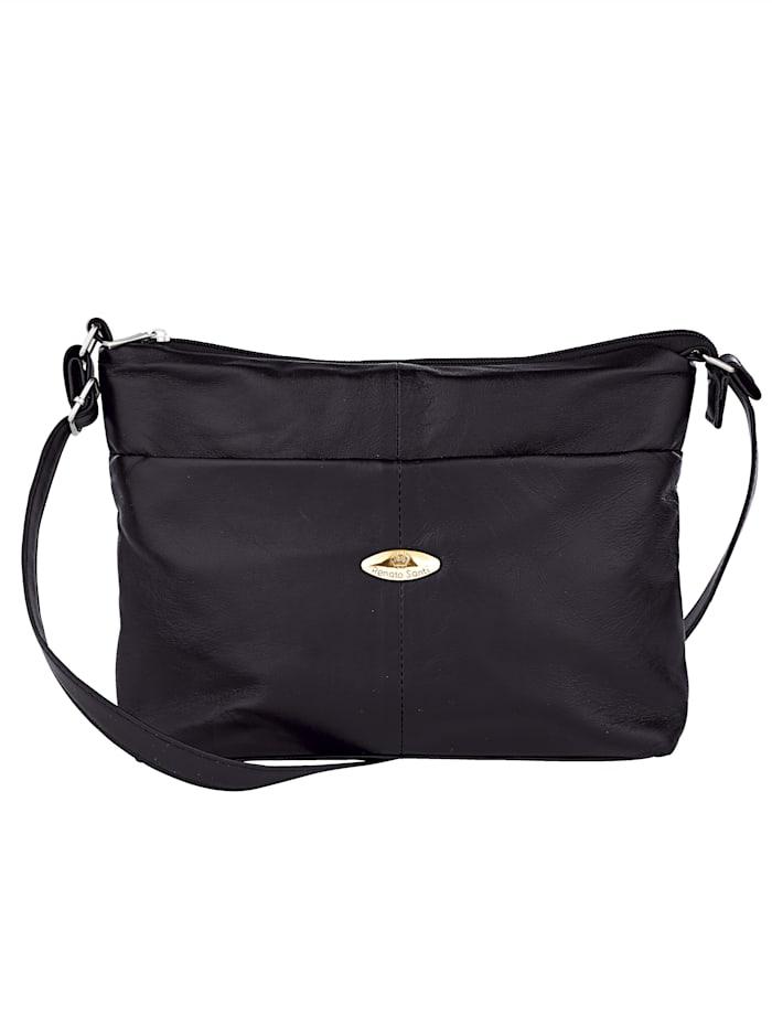 Renato Santi Taschenset mit praktischem Einkaufsshopper 2-teilig, schwarz