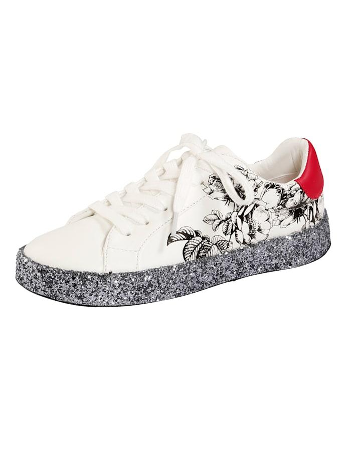 Liva Loop Sneaker mit Glitterplateaulaufsohle, Weiß