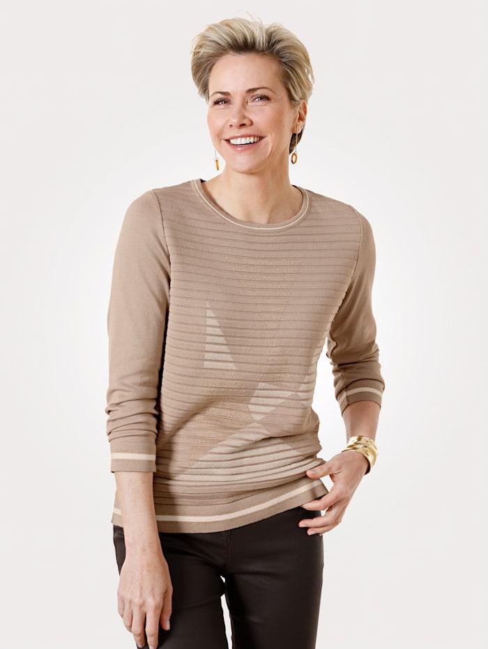 MONA Pullover mit Intarsienstrick, Beige/Ecru/Goldfarben