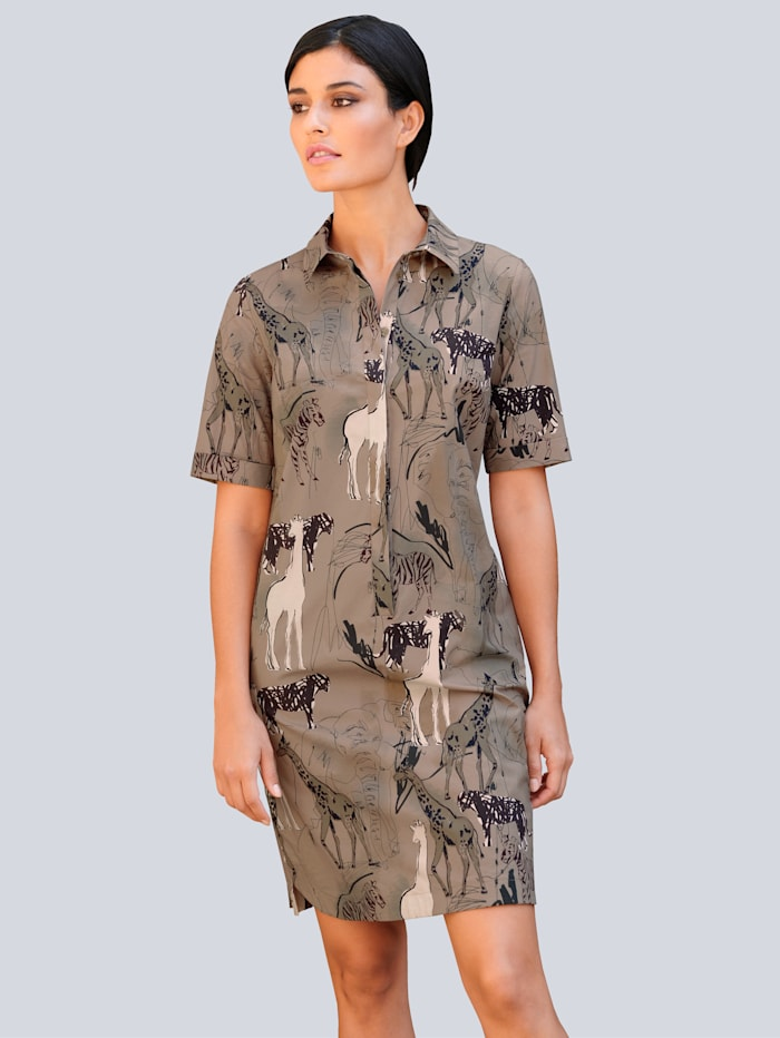 Alba Moda Kleid im Safari-Print, Beige/Schwarz