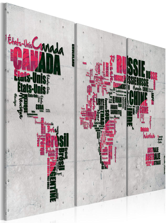 artgeist Wandbild Weltkarte (Französisch) - Triptychon, Grün,rosa,Schwarz,Grau
