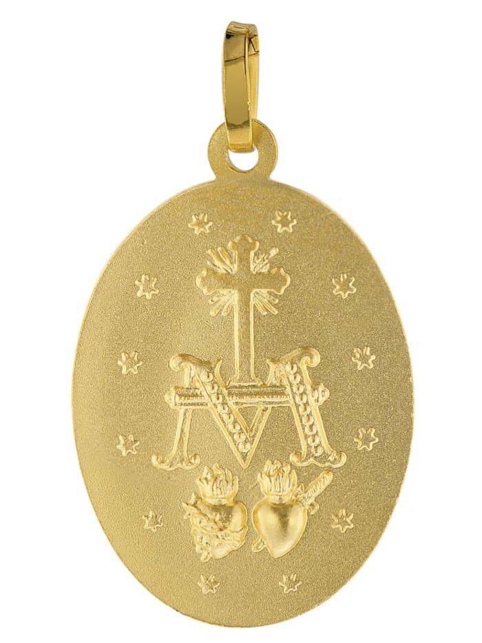Milagrosa Anhänger 333 Gold 18 mm + vergoldete Silberkette