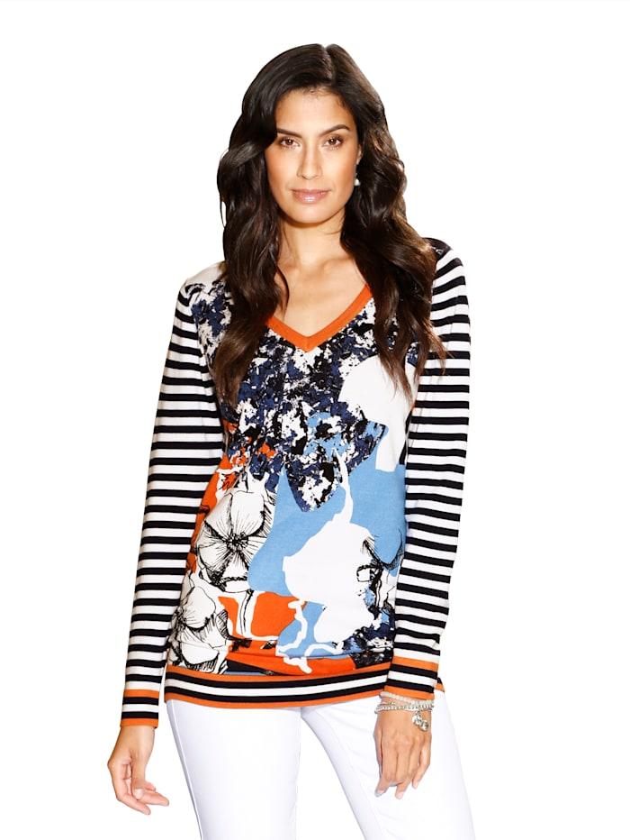 AMY VERMONT Pullover mit floralem Druck, Dunkelblau/Orange