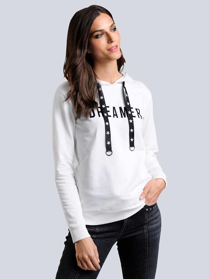 Alba Moda Sweatshirt mit Schriftzug im Vorderteil, Off-white/Schwarz