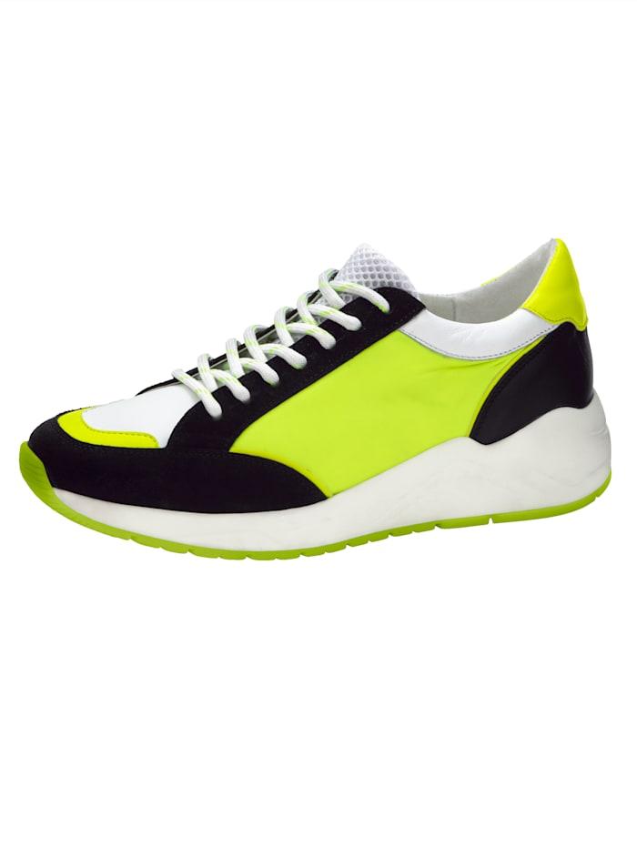 Sneaker in opvallende kleur, Zwart/Neongeel/Wit