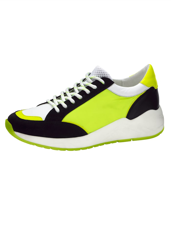 Sneakers en coloris tendance, Noir/Jaune fluo/Blanc