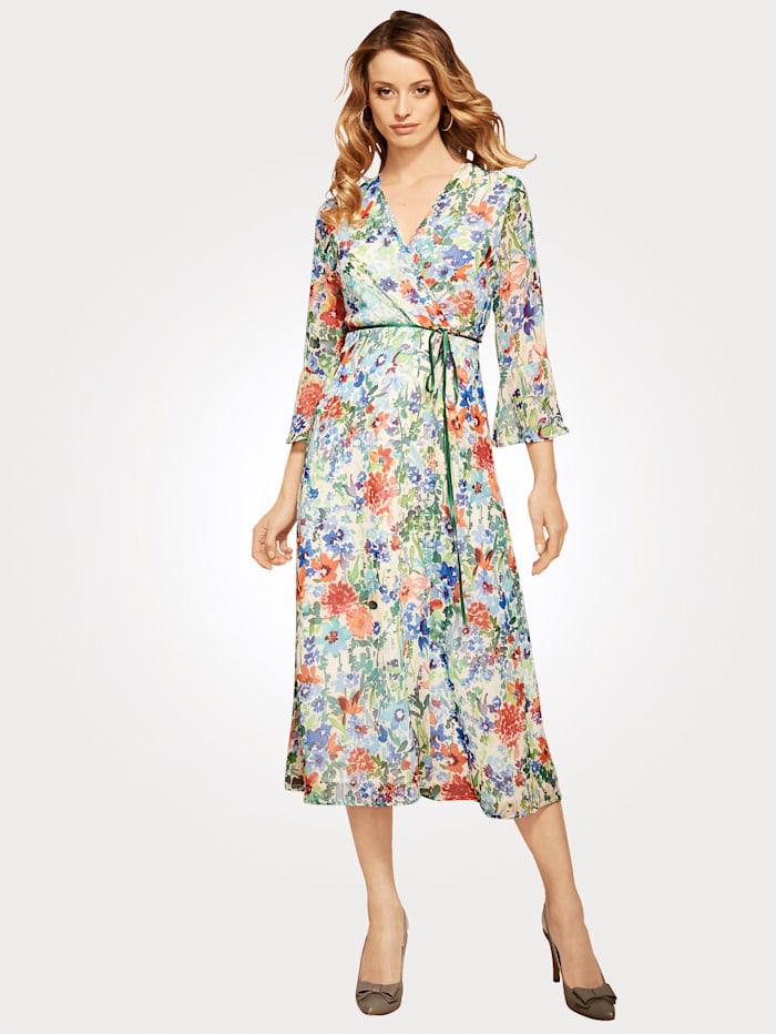 Artigiano Midi dress with contrasting ribbon tie, Multi