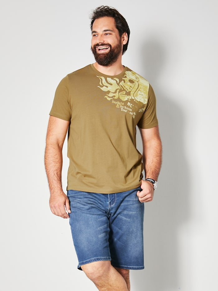 Men Plus T-Shirt aus reiner Baumwolle, Khaki