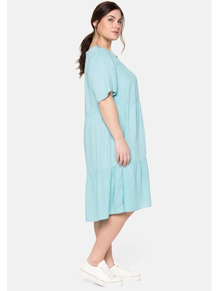Kleid mit Knopfleiste und Volants