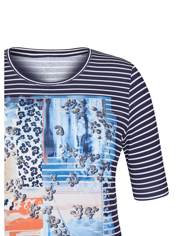 Shirt mit Nieten und gestreiftem Front-Print