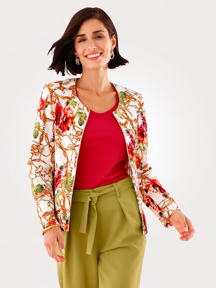 MONA Blazer van opvallende jacquard, Wit/Multicolor