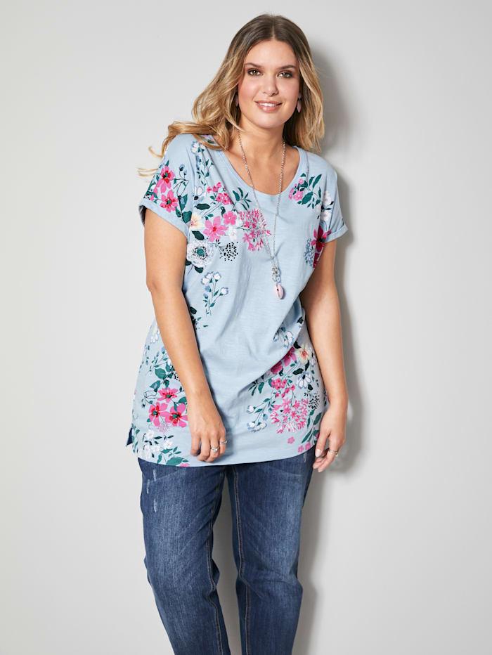 Janet & Joyce Shirt mit floralem Druck, Hellblau
