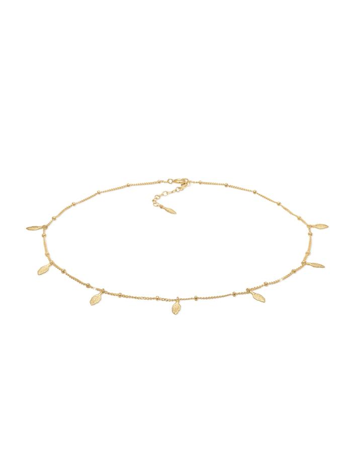 Elli Halskette Choker Kugelkette Federn Boho Trend 925Er Silber, Gold
