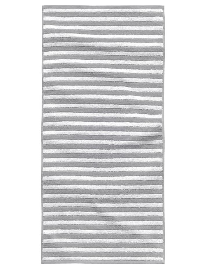 Tom Tailor Kylpypyyhe Jacquard Melange Towel, Hopeanvärinen