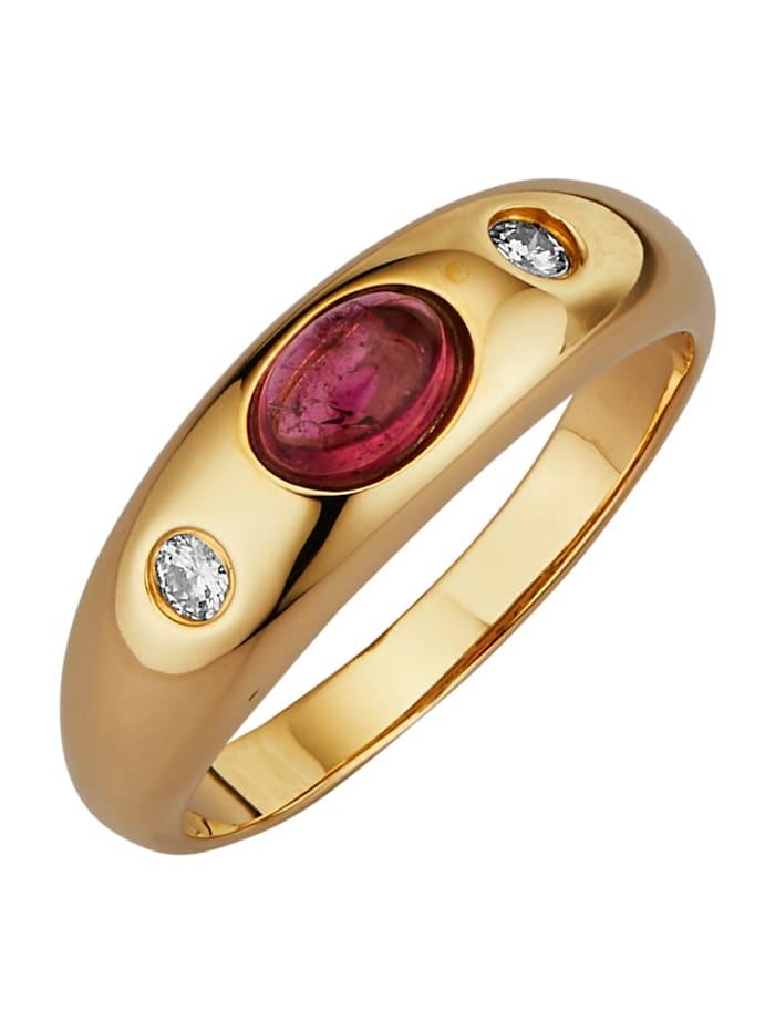 Diemer Farbstein Damenring mit Turmalin und Diamanten, Rosé