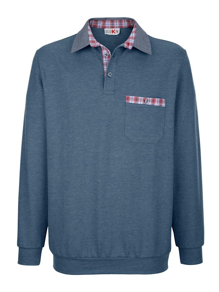 Roger Kent Sweatshirt met geruit beleg in contrastkleur, Blauw